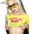 Adogirl Verano de Las Mujeres T-Shirts Tops Amarillo Caramelo Femal Blusa Entallada Tumblr PUTA CLUB Impreso Delgado Atractivo Camisetas Tops Tees POPULAR