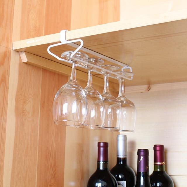 Useful Kitchen Bar Red Wine Glass Hanger Holder Hanging Shelf Wine