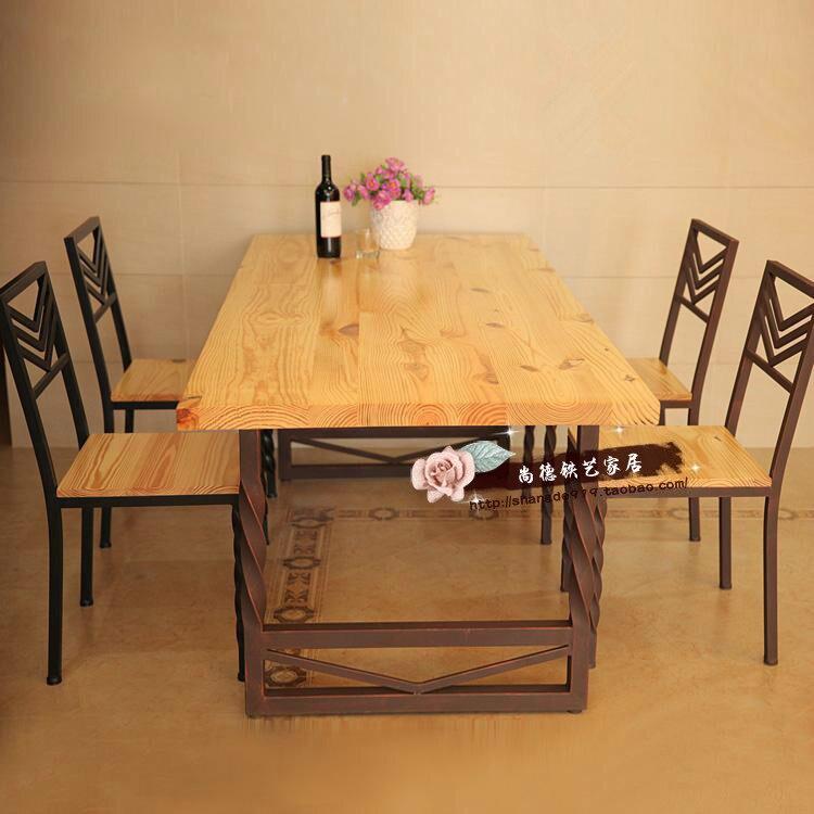 Retro americana muebles de madera maciza mesas de hierro - Sillas de forja para comedor ...