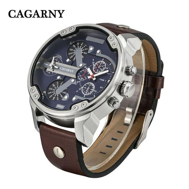 Los hombres de lujo relojes de cuarzo reloj de los hombres relojes de pulsera de moda correa de cuero fecha hora dual display relojes militares hombres cagarny