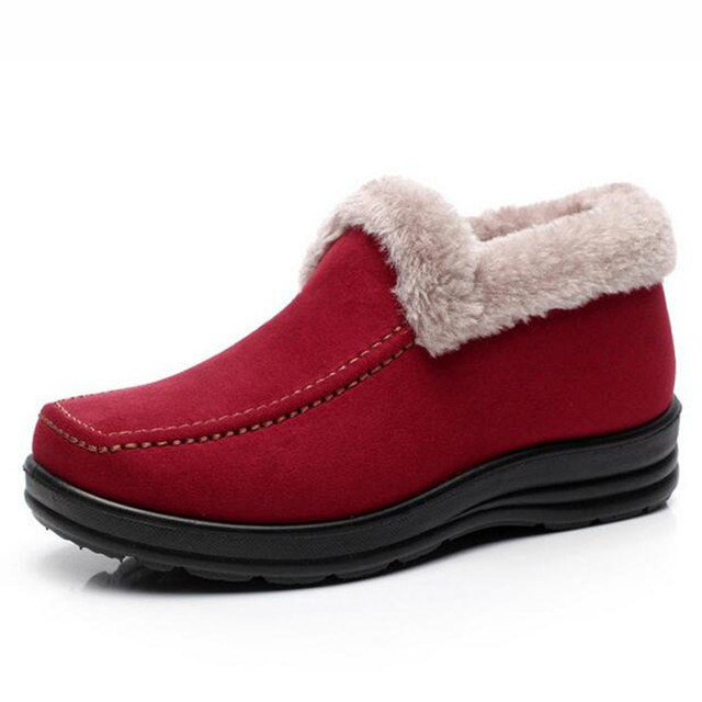 2016 de Gran tamaño de Piel Caliente Botas de Nieve Zapato Talones Planos felpa botines Invierno otoño Zapatos Casuales Zapatos de Plataforma de las mujeres al aire libre zapatos