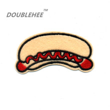 DOUBLEHEE 9.2cm*5cm Embroidered Iron On Patches Fast Food Hot Dog Hambugar Design Embroidery DIY Garments Shoes Bags Accessories