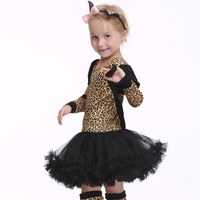 Halloween Cosplay Baby Leopard Headdress Dress Children Set Infant Girl Clothes festival Party Stage Performance Clothing