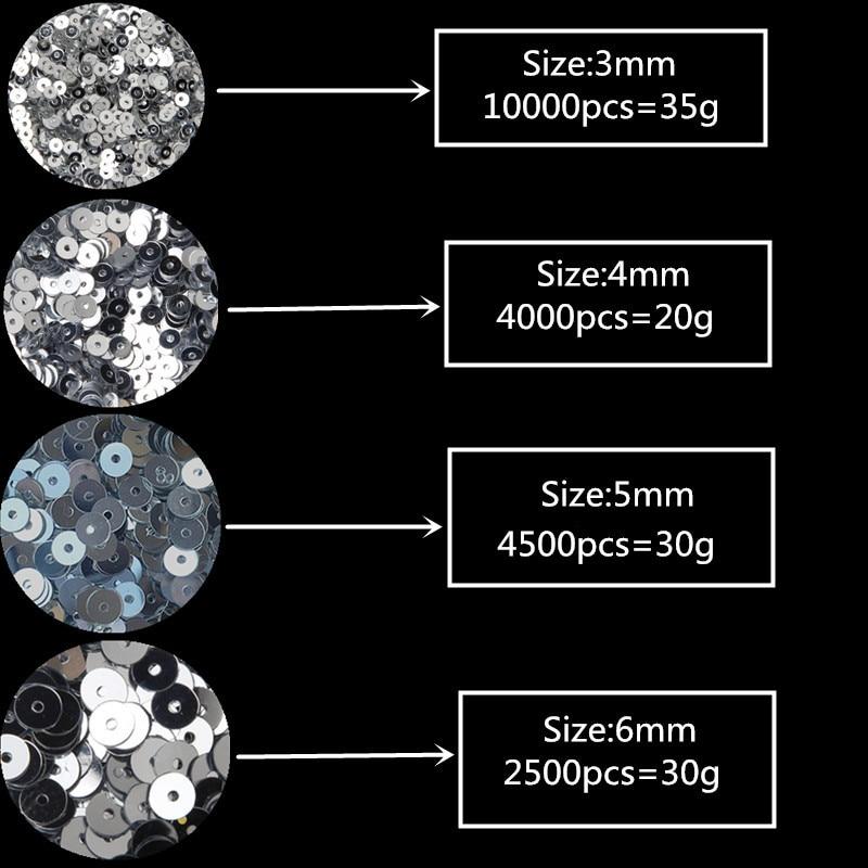 3mm 4mm 5mm 6mm Düz Dəyirmi PVC Boş Sequins Paillette Dekorasiya - İncəsənət, sənətkarlıq və tikiş - Fotoqrafiya 2