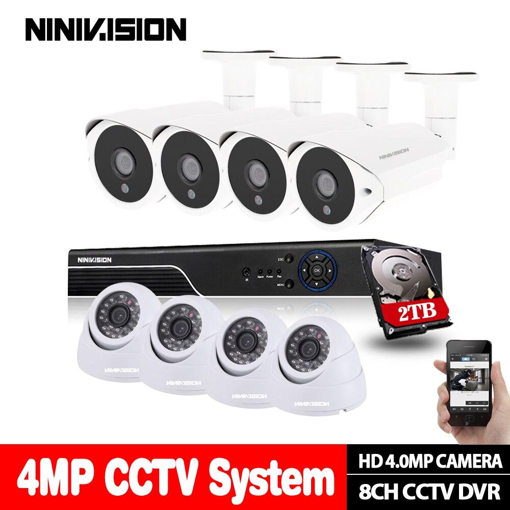 8CH 4MP DVR AHD système de caméra de sécurité à domicile 4.0MP kit de vidéosurveillance IR nuit 4 pièces caméra de sécurité extérieure + 4 pièces intérieure avec disque dur de 2 to