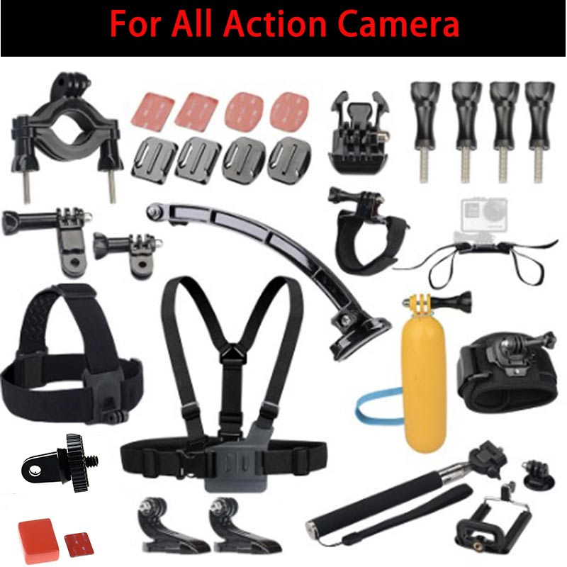 Action Camera Accessorie Set with Helmet Bicycle Mount for Gopro Xiaomi Yi 2 4k SJ5000 Sony Gitup 2 Soocoo F60 EKEN H9/H9R
