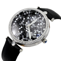 Shining Crystals Women Big Size Dress Watches Waterproof 30M Real Leather Wrist watch Luminous Relogio Japan Quartz Montre femme