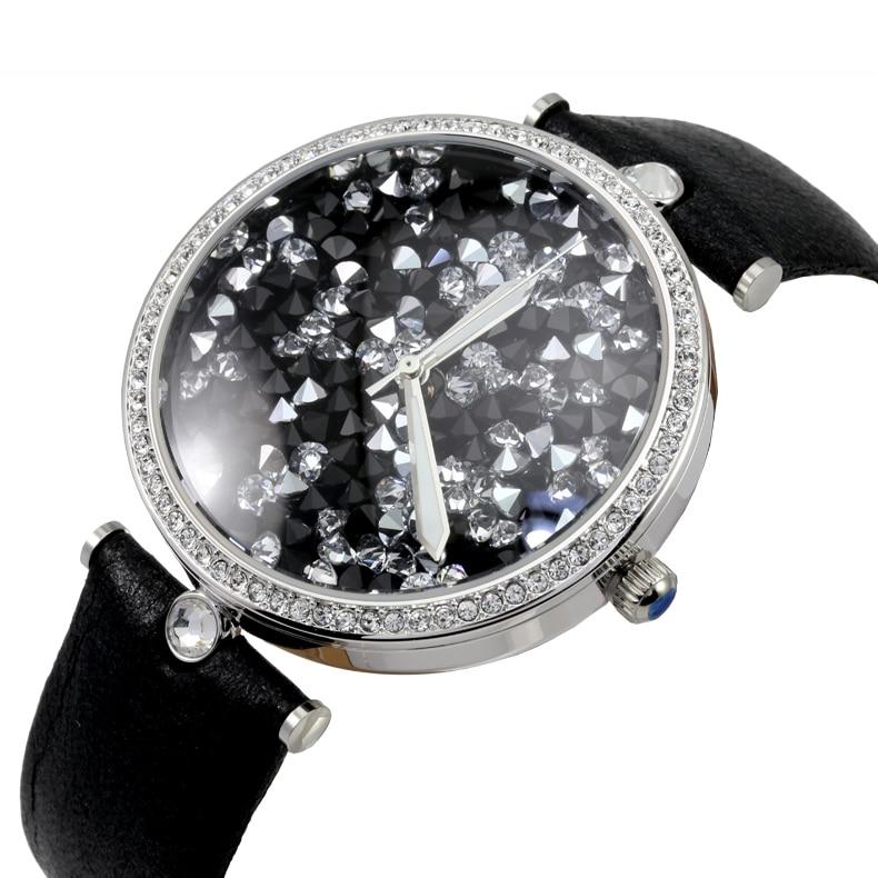 Shining Crystals Women Big Size Dress Watches Waterproof 30M Real Leather Wrist watch Luminous Relogio Japan Quartz Montre femme