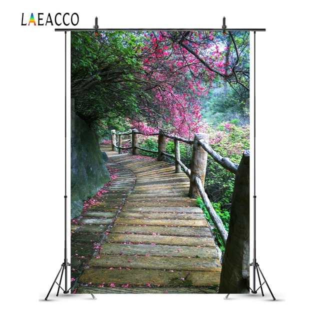 Laeacco Spring Blossom Tree Wooden Pathway Scenic Photography Backgrounds Customized Photographic Backdrops For Photo Studio