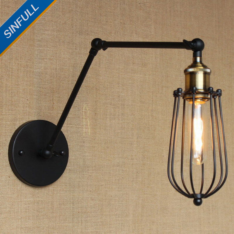Antique Retro Black Swing Arm Wall Light Office Study Industrial Wall Lamp Bedside Sconce Indoor Home Lighting AC90-260V SINFULL top grade wood handcrafted swing arm light sconce led wall lamp nordic style home decoration lighting e27 black with switch