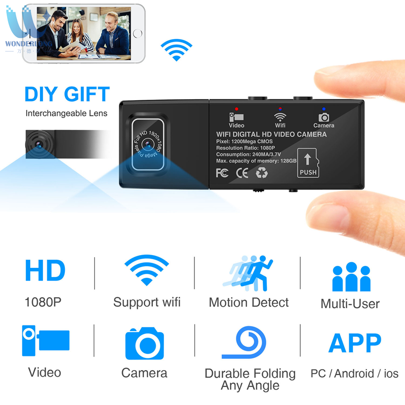 Wonderlong Dual Camera Mini Wireless Camera Module HD 1080P P2P Mini DV Camcorder DIY Removable Camera