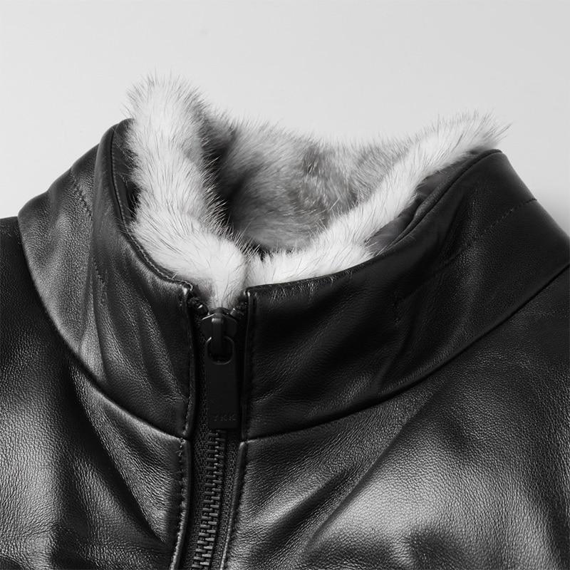 Piel Para Kj1257 Chaqueta Visón De Corta Hombre Genuino Cuero Coreano Black  Abrigo Ayunsue Oveja Collar xw01OqIWw d19c28533bc