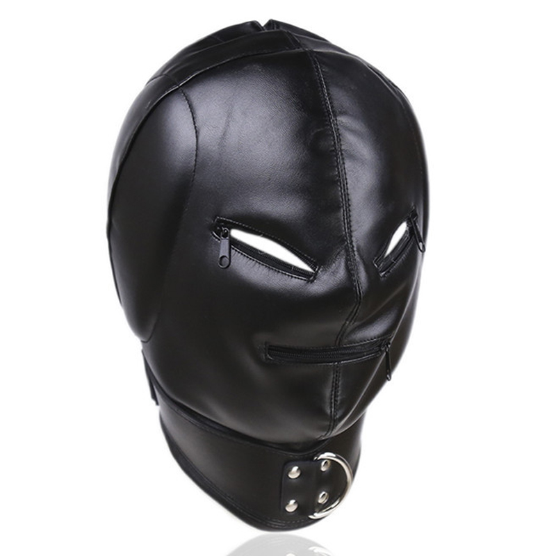 New PU leather bondage hood sex toys for couples adult games cosplay slave mask bdsm hood fetish wear head restraints tools new arrival latex fetish hood sexy rubber girls ponytail hood back zip including hair hood only