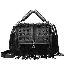 Bolso de mensajero Vintage de lujo de invierno para mujer, bolso de hombro femenino con borla, bolso de mano de cuero genuino de alta calidad para mujer, Bolsa femenina