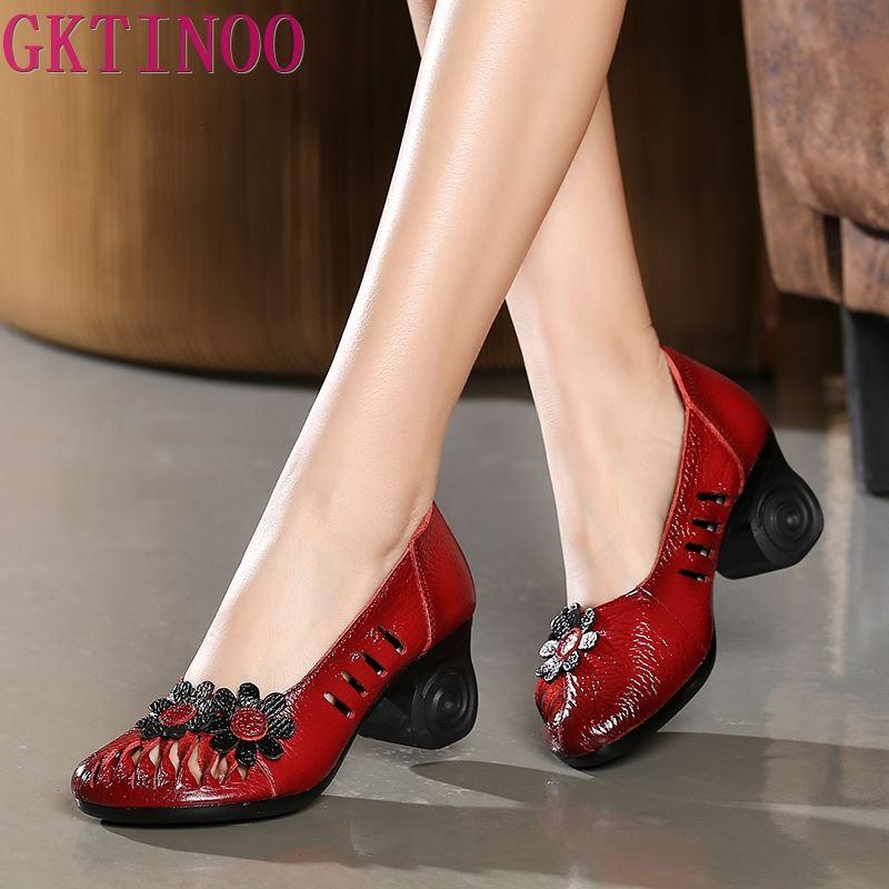 GKTINOO Summer Autumn 2020 Ethnic Style Genuine Leather Handmade Shoes Women Round Toe Pumps Hollow Flower High Heels