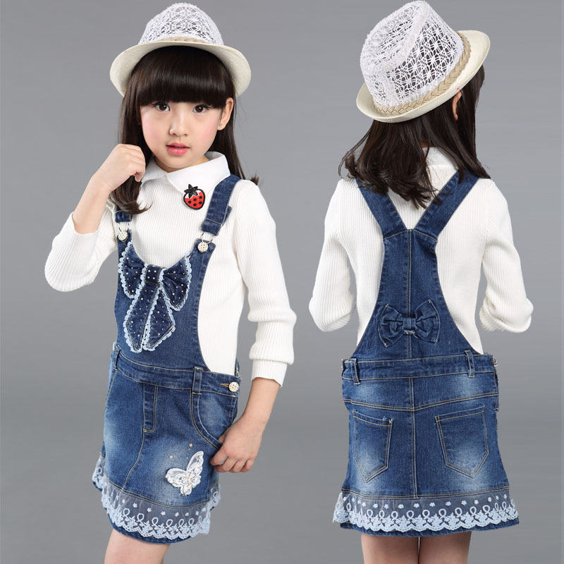 New Arrival 2017 Girls Denim Sundress Girls Lace embroidery Sundress Kids Suspender Big Girls Denim dress Child Casual Sundress shuzhi summer baby girls dress denim sundress girls suspender denim dresses kids cute rabbit embroidery sundress