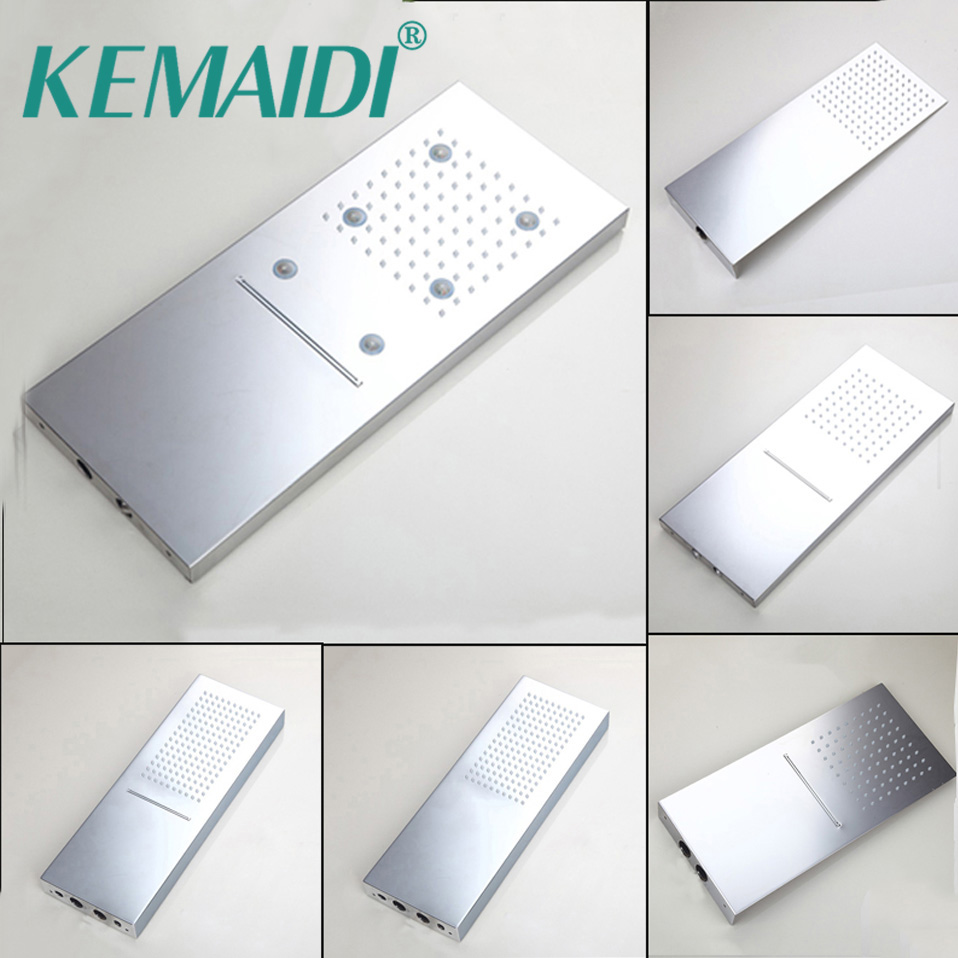 KEMAIDI Good Quality Rainfall Square Shower Head Bathroom Shower Set Wall Mounted Basin Overhead LED Light New Chrome Finished good quality wall mounted square style brass waterfall shower set new bathroom shower with handle rainfall shower head