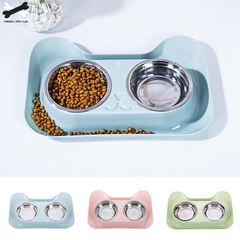 1Pc Durable Double Stainless Steel Dog Cat Bowls with Non-spill & Non-skid Design for Pet Food and Water Elevated Feeding 23