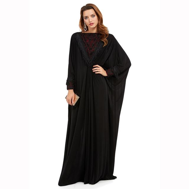 Más el tamaño S ~ 6XL calidad nueva moda musulmana abaya caftán ropa islámica árabe elegante vestido negro mujeres del diseño de dubai abaya