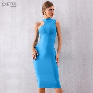 Image 3 - ADYCE 2020 nouveau été bleu Bandage robe femmes Sexy sans manches réservoir moulante Club robe élégante chaude célébrité robe de soirée Vestido