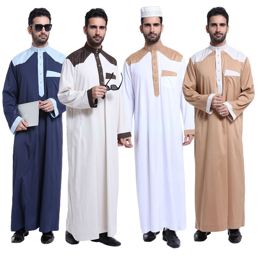 Male Muslim Jubba Thobe Maxi Robe Gown The Middle East Arabic Dubai Worship Service Ramadan Men Islamic Maxi Thobe