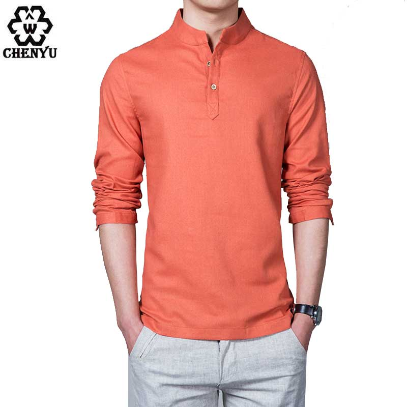 NEW 2016 Asian fashion mens pullover shirt longsleeve Linen shirts ...