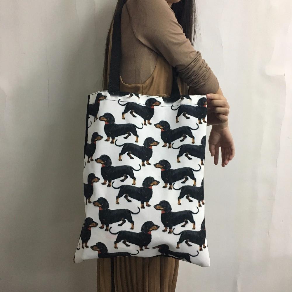 Funny Giraffe Printed Linen Shopping Bags Women Heavy Duty Supermarket Grocery Bag Ladies Travel Handbag for Females Girl