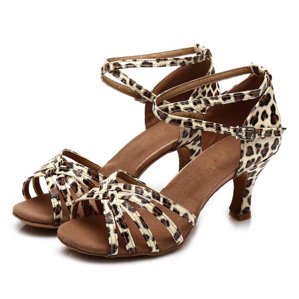 443856eabe85c Nouvelle Marque tango filles de salle de bal à talons hauts en satin femmes  latine danse chaussures dames 5 CM et 7 CM léopard dans Chaussures de danse  de ...
