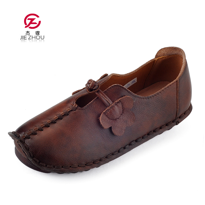 Genuine Leather Shoes Woman Slip On Fashion Casual Shoes Comfortable Breathable Women Flats