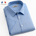 LANGMENG 2016 New Cotton Men Dot Dress Shirt Short Sleeve Male casual Shirts Slim Fit mens Clothing Polka Dot Camisa Masculina