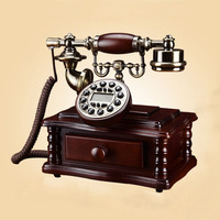 squareness antique landline telephone made of wood vaste telefoon caller id vintage fixed phone for home office sitting room