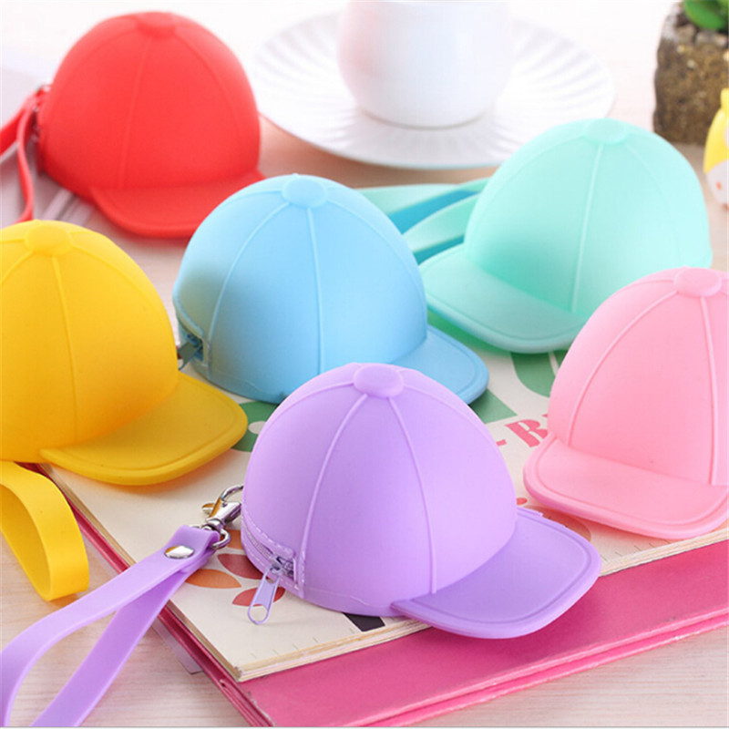 Cute Cartoon Coin Bag Silicone Key Cases Kids Wallets Candy Color Cap Hat Mini Storage Bag