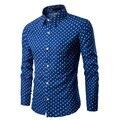 Модный бренд Мужские рубашки мужчина случайно все матч якорь Точка тонкий мужская одежда печати с длинными рукавами в горошек рубашка 3XL мужская одежда