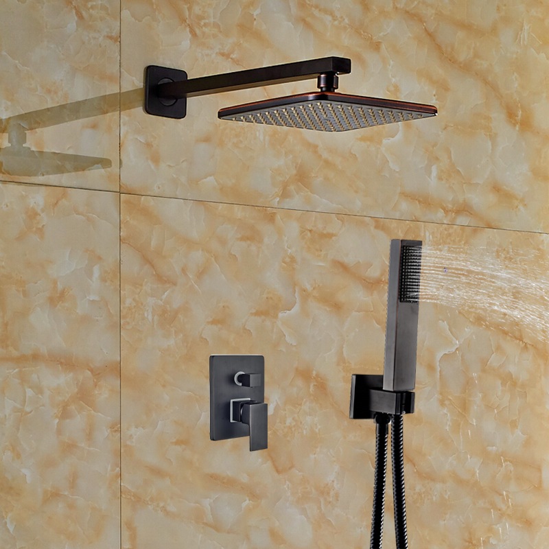 Wholesale And Retail Rainfall ABS Plastic Shower Head 2 Ways Mixer Wall Mounted Oil Rubbed Bronze Shower Faucet W/ Hand Shower wholesale and retail contemporary oil rubbed bronze led waterfall