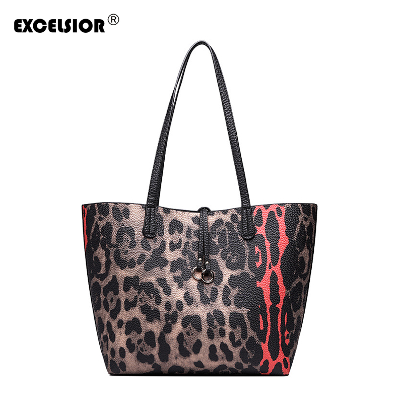 EXCELSIOR Women's Handbag Leopard Print Fashionable Handbag Big Capacity Composite Bag Luxury Handbags Bags for Women 2018 G2069