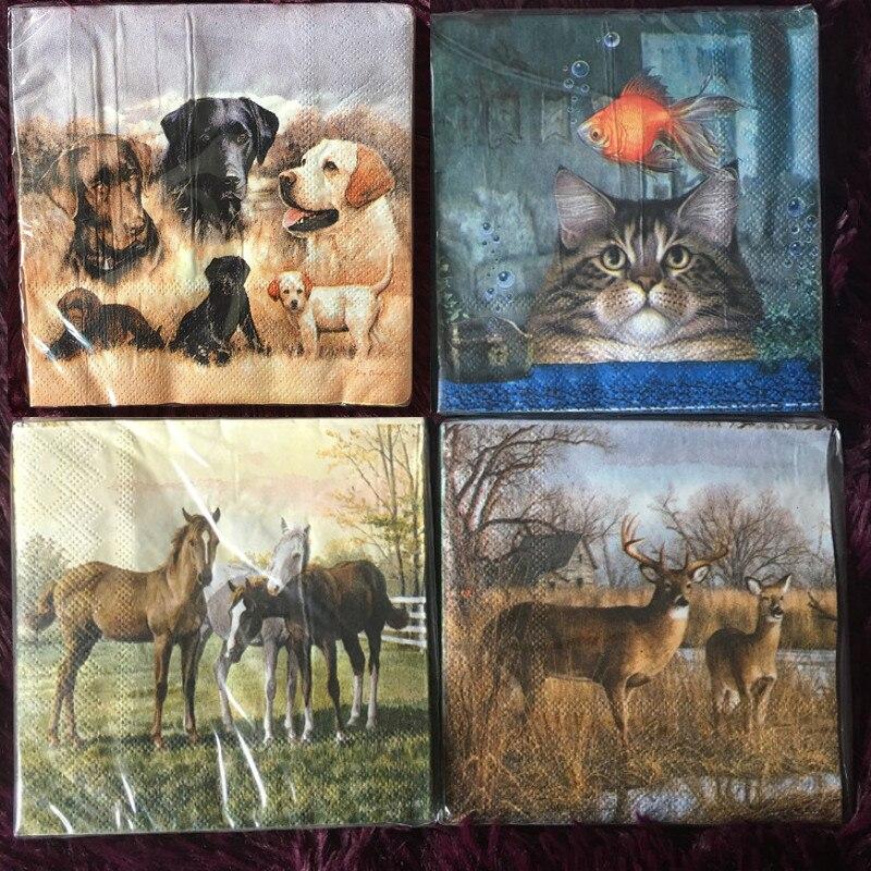 25cm Vintage Paper Napkins Tissue Cute Animal Dog Cat Horse Fish Deer Oil Craft Decoupage Wedding Kid Birthday Party Serviettes
