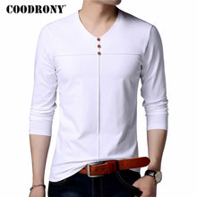 COODRONY T Shirt Men Clothes 2018 Autumn New Arrival Long Sleeve T-Shirt Men Cotton Tee Shirt Homme Casual Henry Collar Top 8610