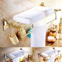Gold Plated Towel Rack Antique Bathroom Shelf Double Layer Folding Rack Wall Mount Polish Finish