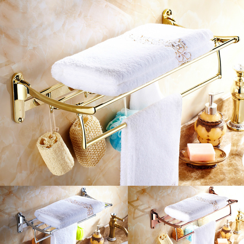 Gold Plated Towel Rack Antique Bathroom Shelf Double Layer Folding Rack Wall Mount Polish Finish bracket wall towel rack towel rack solid wood bathroom toilet wall shelf rack antique industrial iron shelf