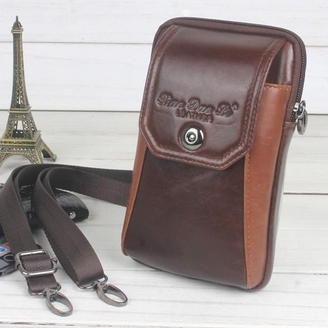 High Quality Genuine Leather Hook Cell/Mobile Phone Pocket Men Messenger Shoulder Crossbody Belt Fanny Bag Waist Pack Coin Purse