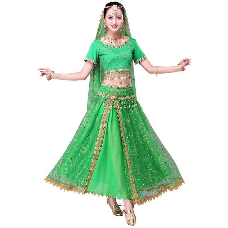 2018 Sari Dancewear femmes danse du ventre ensemble de vêtements Costumes de danse indienne Bollywood robe (haut + ceinture + jupe + voile + casque)
