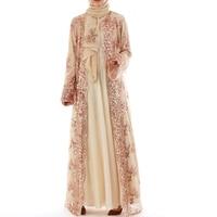 2019 Abaya Dubai Luxury High Class Sequins Muslim Dress Embroidery Lace Ramadan Kaftan Islam Kimono Women Turkish Eid Mubarak
