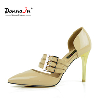Donna In 2016 New Spring Beige Patent Pumps Thin And High Heel Ladies Shoes Buckle Pointed
