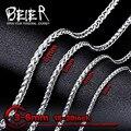 Beier 3mm/4mm/5mm/6mm Largura Aço Inoxidável 316L Homens Menino Spiga Plait colar de Corrente Cor Prata BN1006 (20-32 polegada)