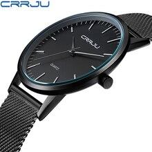 Top brand crrju hombres relojes banda de acero inoxidable dial display analógico de cuarzo reloj de los hombres ultra-delgado de lujo de los hombres de relojes