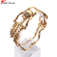 Punk Rock Male Bracelet Biker Bicycle Cuff Bracelets For Men Gothic Skull Body Cool Bangles Gold Color Stainless Steel Jewelry