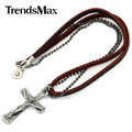 Surfer Mens Boys Silver Tone Metal Jesus Cross Crucifix Pendant Leather Necklace Bead Chain Wholesale Fashion Gift LP108