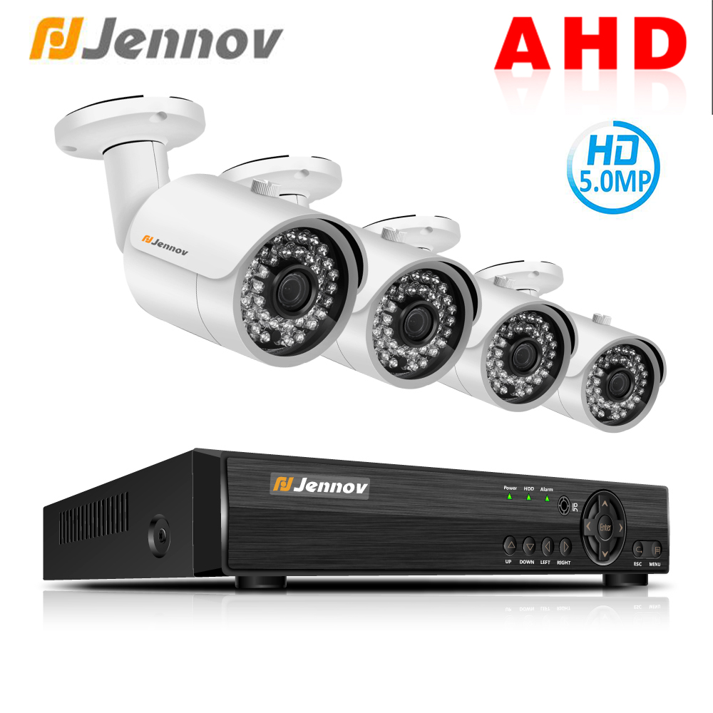 Jennov 4CH 5.0P AHD Full HD CCTV Set Camera Security System Video Surveillance System DVR Kit P2P IP66 Weatherproof Night View