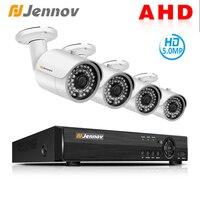 Jennov 5MP 4CH HD P2P IP видеонаблюдения Набор для видеонаблюдения Открытый безопасности Камера Системы AHD Камера с DVR металлический корпус H.265
