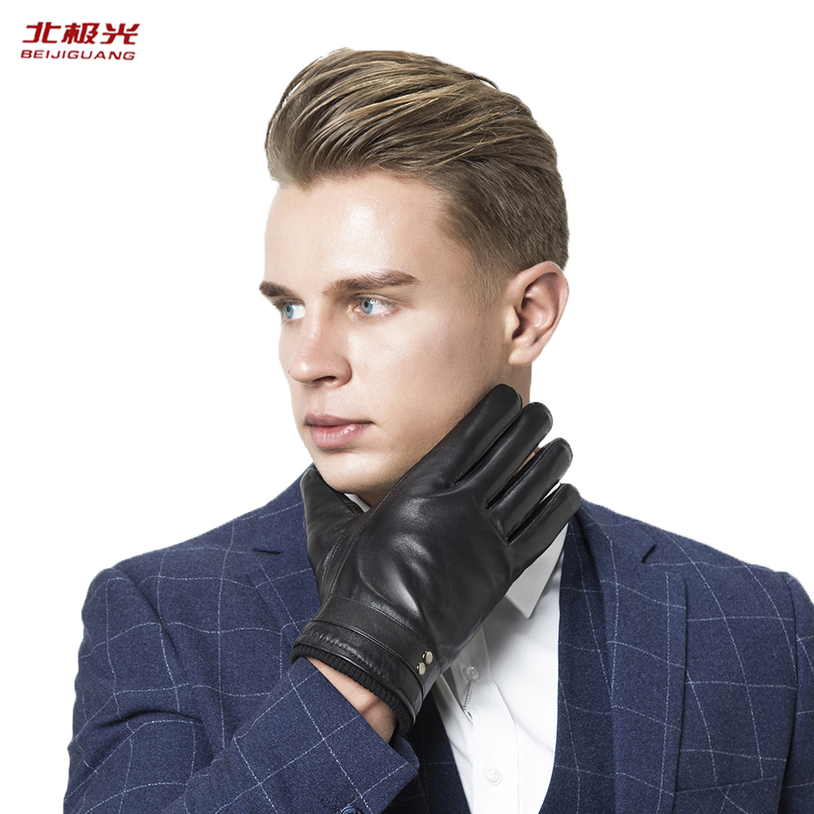Gloves Mens Leather Touching Screen Fashion Outdoors Driver Elastic Buckle Car Suture Decoration Black Gloves for Men